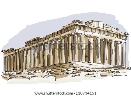 The iconic and historical architecture of Europe - the pantheon Rome - illustration for the children - stock photo