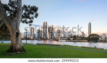 The Iconic Gold Coast Tourist City and Clouds Reflecting in the Water with a Eucalyptus Tree in a Park During a Beautiful Sunset, Surfers Paradise, Queensland, Australia - stock photo
