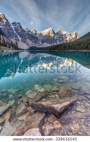 The Iconic Moraine Lake in Banff National Park - stock photo