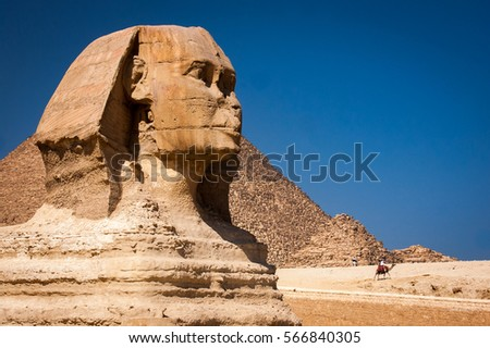 The iconic Sphinx carving adjacent to the Great Pyramids at Giza, Egypt