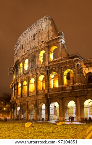 The Iconic, the legendary Coliseum of Rome, Italy - stock photo