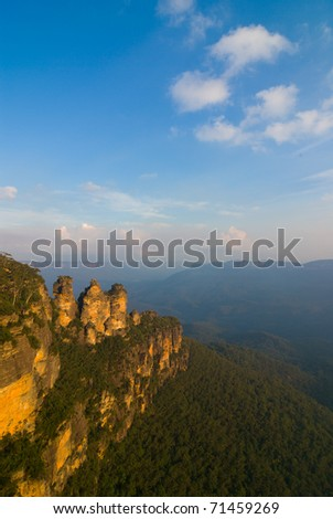 The iconic Three Sisters in the Blue Mountains National Park, near Katoomba, NSW, Australia - stock photo