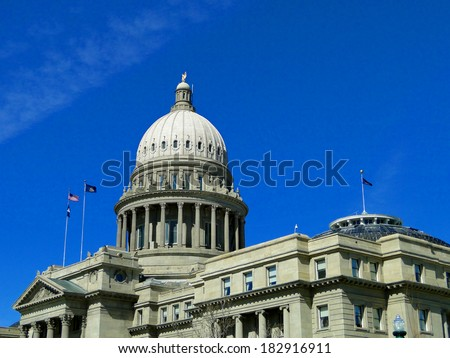 The Idaho State Capitol building is a historic and famous landmark in Boise. It was constructed between 1905 and 1920.                                - stock photo