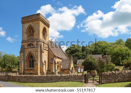The idyllic Cotswolds village of Snowshill. Featuring St Barnabas's church - stock photo