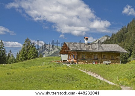 The idyllic Enningalm is a popular hiking destination in the Ammergau Alps - stock photo