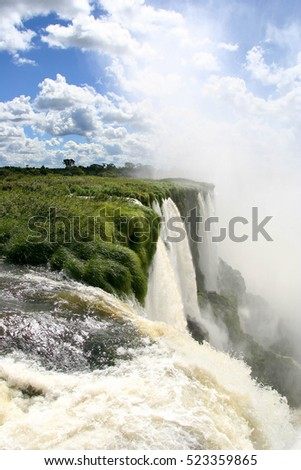 The Iguazu Falls on the border between Brazil and Argentina
