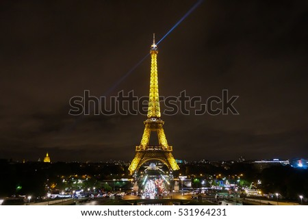 The illuminated Eiffel Tower, shot at Trocadero in October 2016