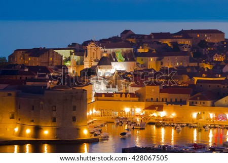 The illumination of the Old Town of Dubrovnik Croatia - stock photo