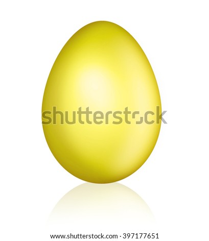The illustrated gold egg close up on a white background - stock photo