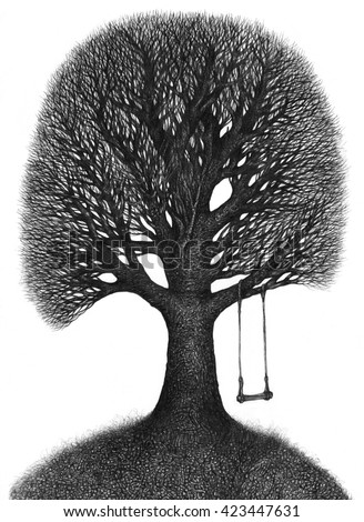 The illustration - graphically painted a big tree (ink, pen)