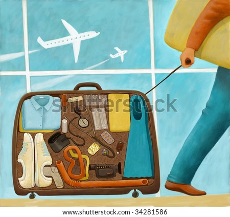 The illustration of a medicine doctor in the airport going on vacation with a suitcase filled with professional stuff.