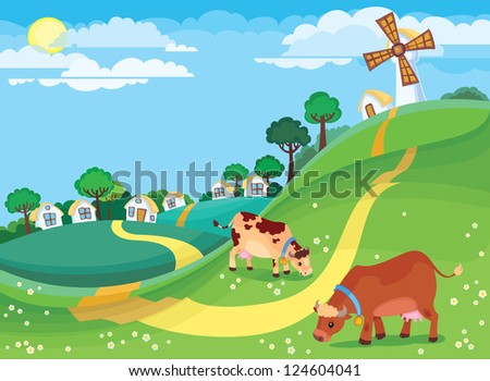 The illustration of country landscape with the village houses and cows grazing in the meadow. - stock photo