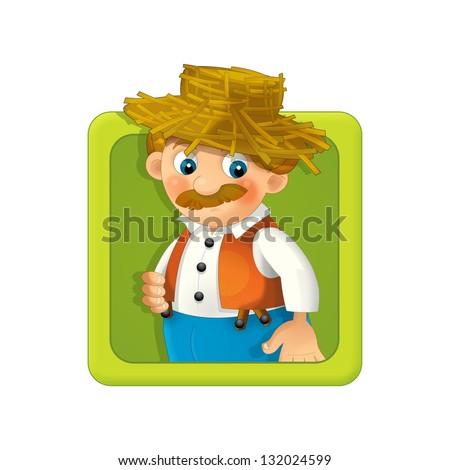 The illustration of farm element - smiling faces - in icon form - in square - drawing for children - decor good for ad or wrapping - banner - button