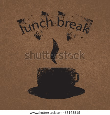 The illustration of the background with a cup of coffee or tea in a grunge style - stock photo