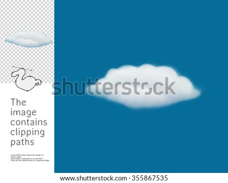 The illustration of the fluffy cloud in the blue sky.  A part of Dodo collection - a set of educational cards for children. The image has clipping paths and you can cut the image from the background. - stock photo