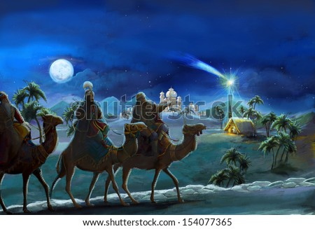The illustration of the holy family and three kings -  traditional scene - illustration for the children - stock photo