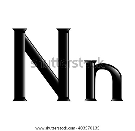 The  illustration of the letter N isolated in the white background
