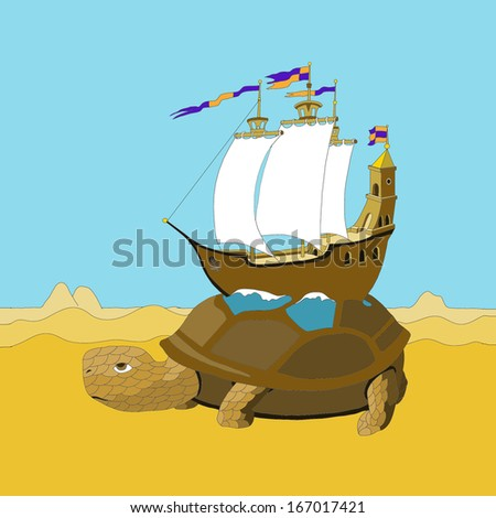 The illustration of the turtle with the ship on the back crawling through the desert.