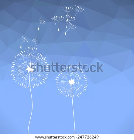 The illustration of two dandelions on a wind loses the integrity, blue polygonal background. - stock photo