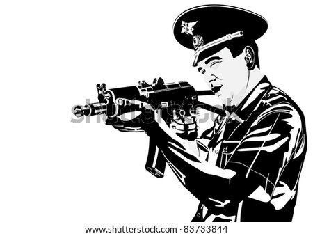 The illustration on military issues. A man in uniform ready to fire from automatic weapons
