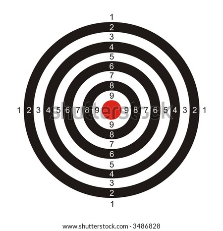 The illustration representing the drawn black-and-white target with the red center for game in a darts on a white background