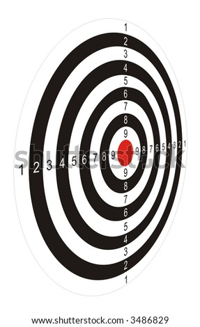 The illustration representing the drawn black-and-white target with the red center for game in a darts on a white background. Figure in the long term.