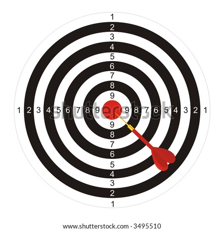 The illustration representing the drawn black-and-white target with the red center for game in a darts on a white background. In the center of a target the arrow which has hit the mark is located.