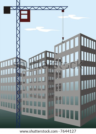 The illustration representing the working building crane on construction new at home on a background of the blue sky. - stock photo