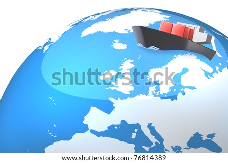 The illustration represents the Northern Sea Route. This is computer Generated image - stock photo