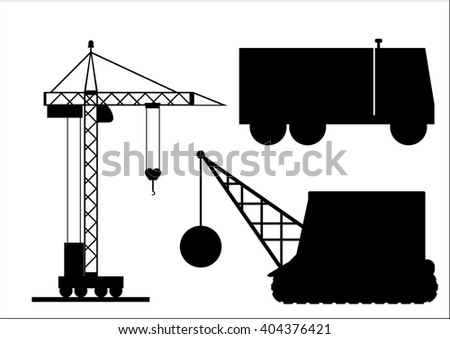 The  illustration, set of silhouettes of the modern construction machinery - stock photo