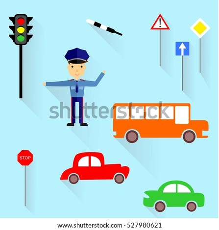 the illustration - set - of various objects devoted to traffic.