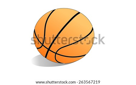 The illustration shows a basketball on a white background - stock photo