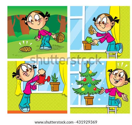 The illustration shows a comic about how the girl found a lump in the woods and raised in the home potted Christmas tree. Illustration done in cartoon style