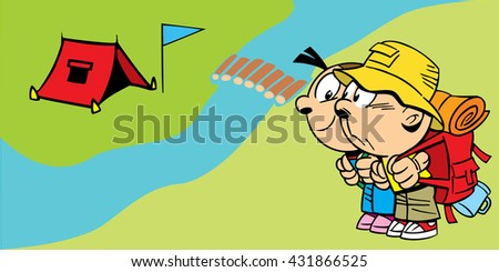 The illustration shows a couple of young tourists near the camp. Illustration done in cartoon style - stock photo