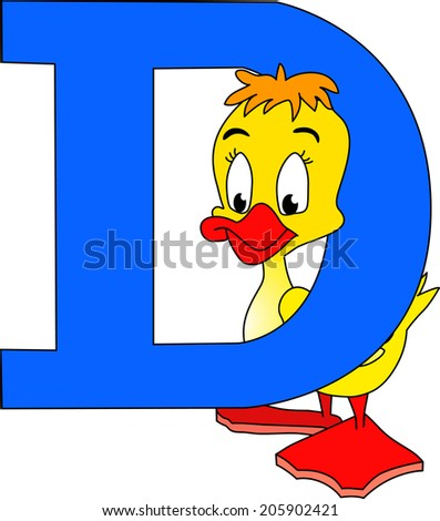 The illustration shows the English alphabet letter D with the image of an duck. Illustration done in cartoon style.