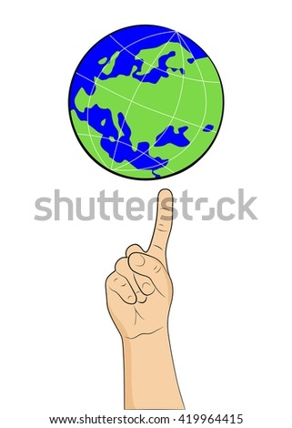 the illustration with painted hand that holds the globe.