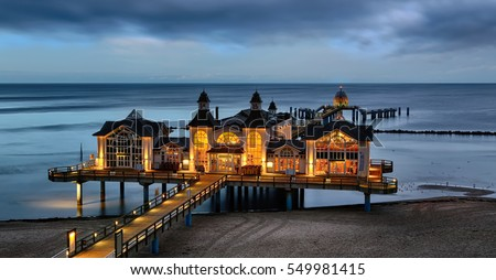 The iluminated Pier of Sellin at the Baltic Coast (Island Rugia, Germany)