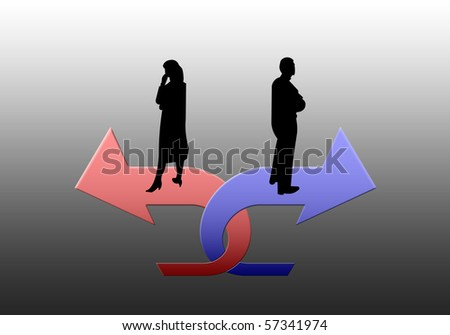 The image - a metaphor (the family conflict). - stock photo