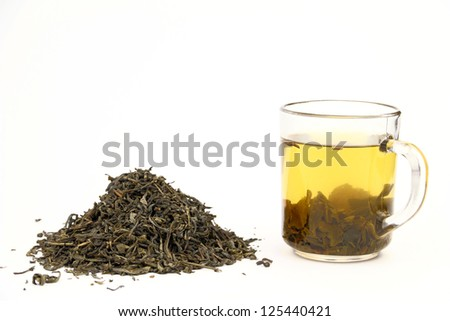 The image arranged of leaves of green tea