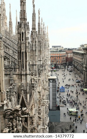 The image from the rooftop of the Duomo of Milan Italy