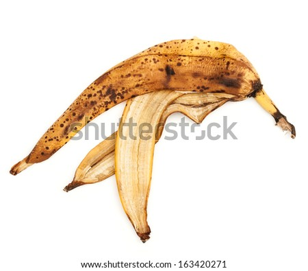 The image of a banana peel on a white background - stock photo