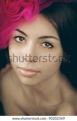 The image of a beautiful fashionable luxury woman - stock photo