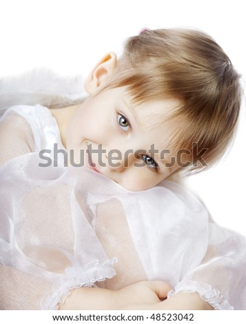 The image of a beautiful little girl - stock photo