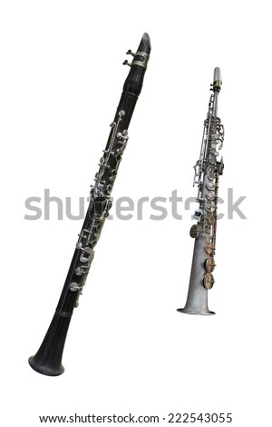 The image of a clarinet isolated under the white background - stock photo