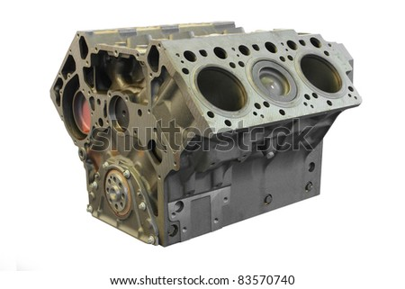 The image of a cylinder block under the white background - stock photo