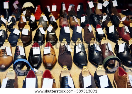 The image of a footwear in a shop - stock photo