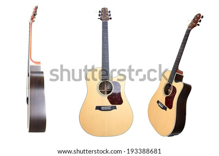 The image of a guitar set isolated on white background . This has clipping path. - stock photo
