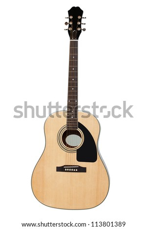 The image of a guitar under a white background - stock photo