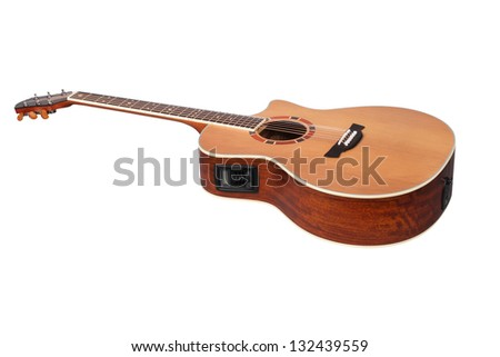 The image of a guitar under the white background - stock photo