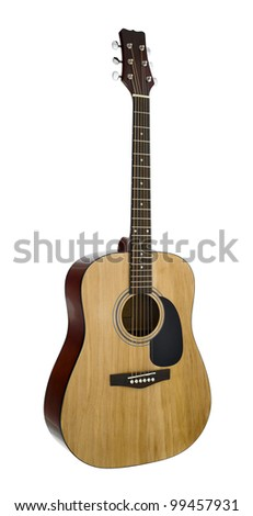 The image of a guitar under the white background (isolated with path) - stock photo